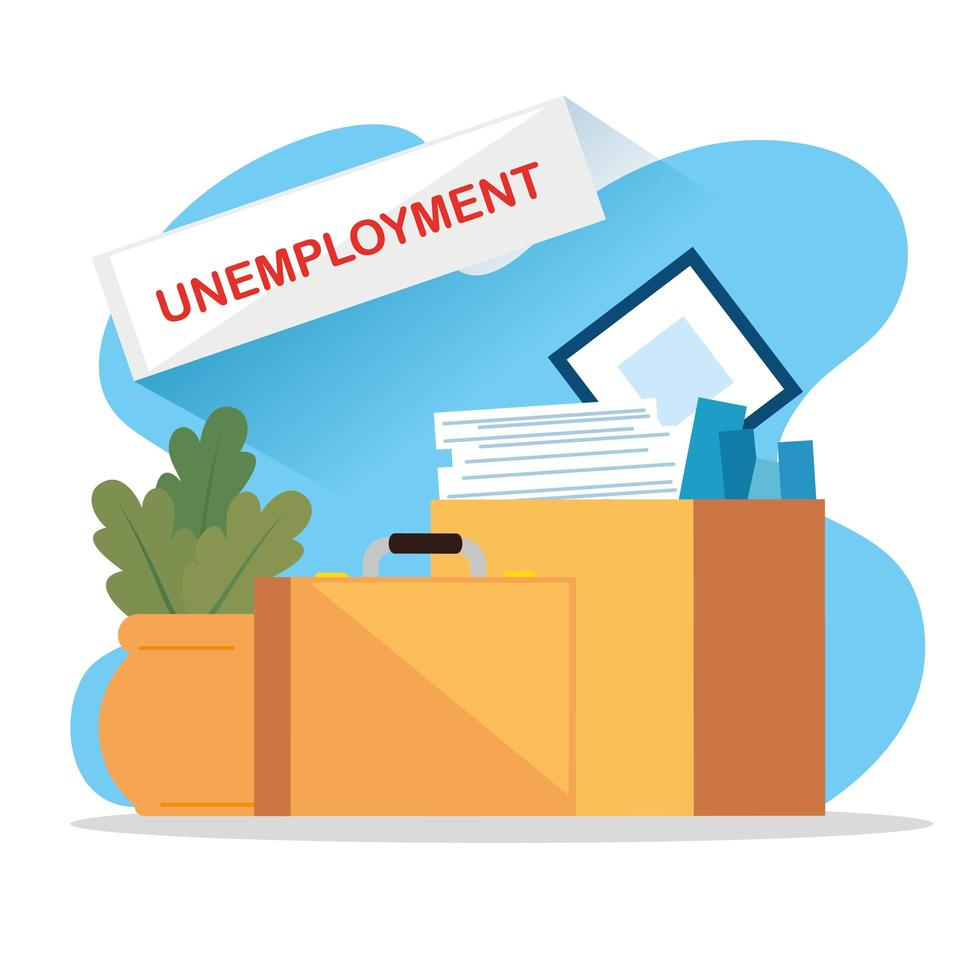 caixas com objetos de um desempregado vetor