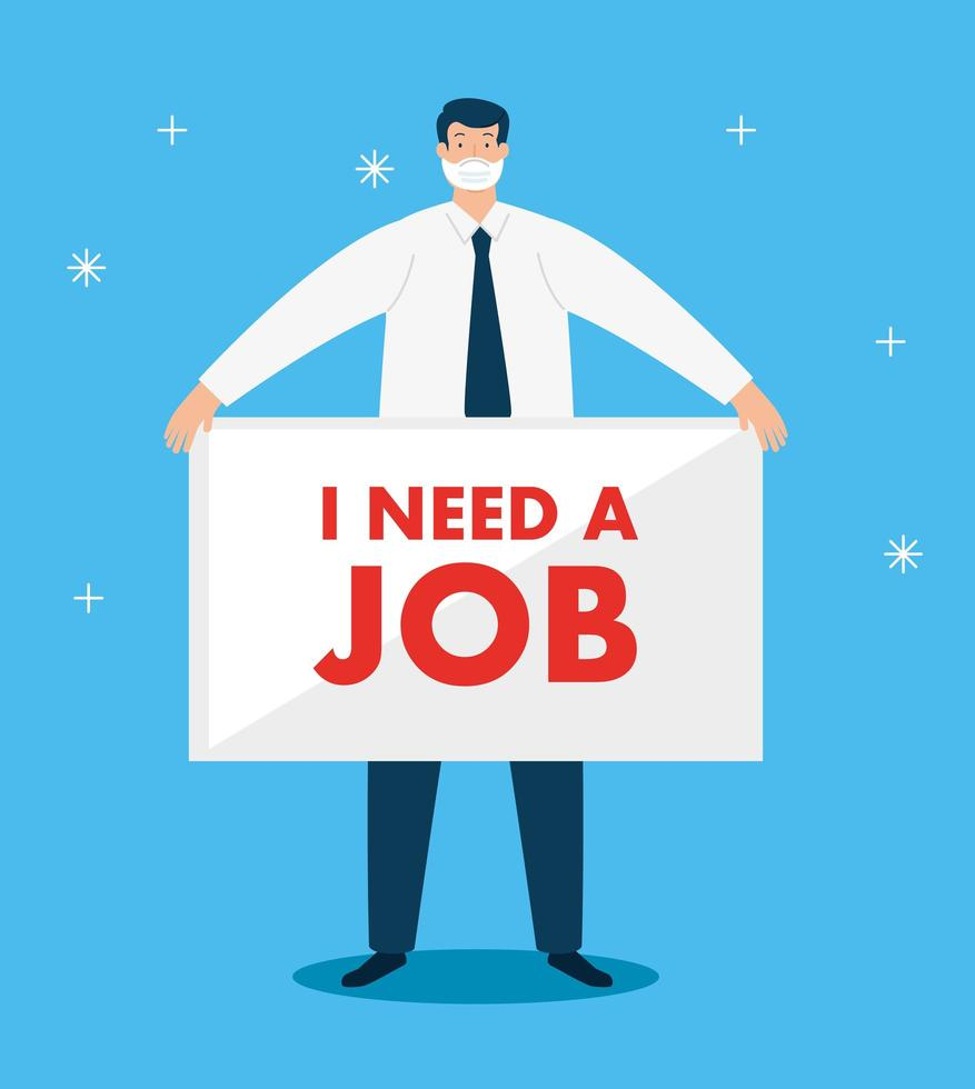 empresário com máscara à procura de emprego vetor