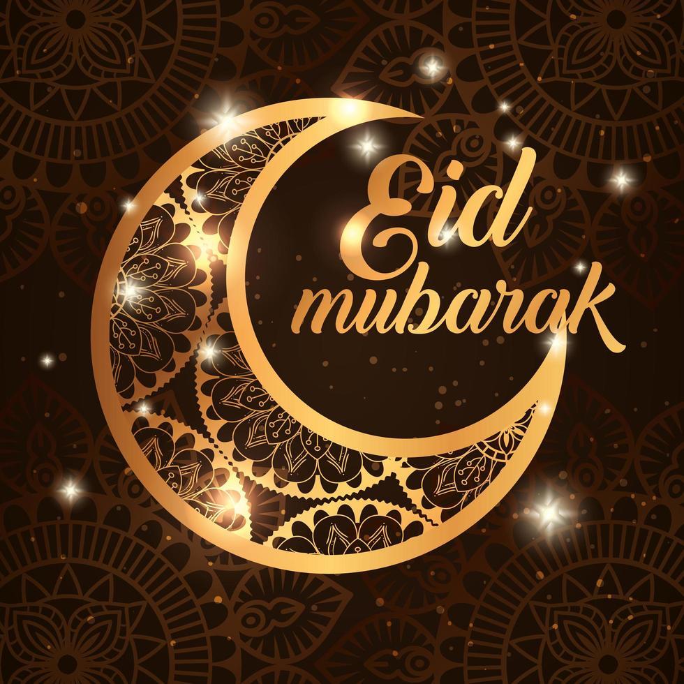 Pôster eid mubarak com lua e decoração vetor