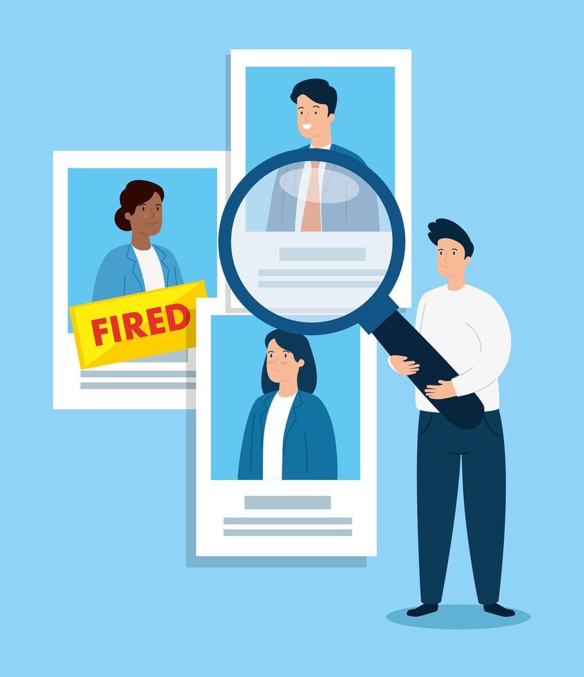 empresário triste sendo demitido vetor