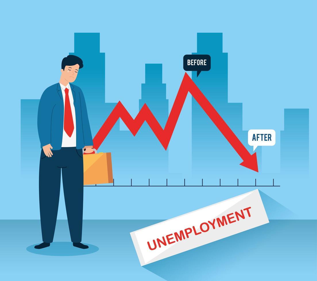 infográfico de empresário triste e desempregado vetor