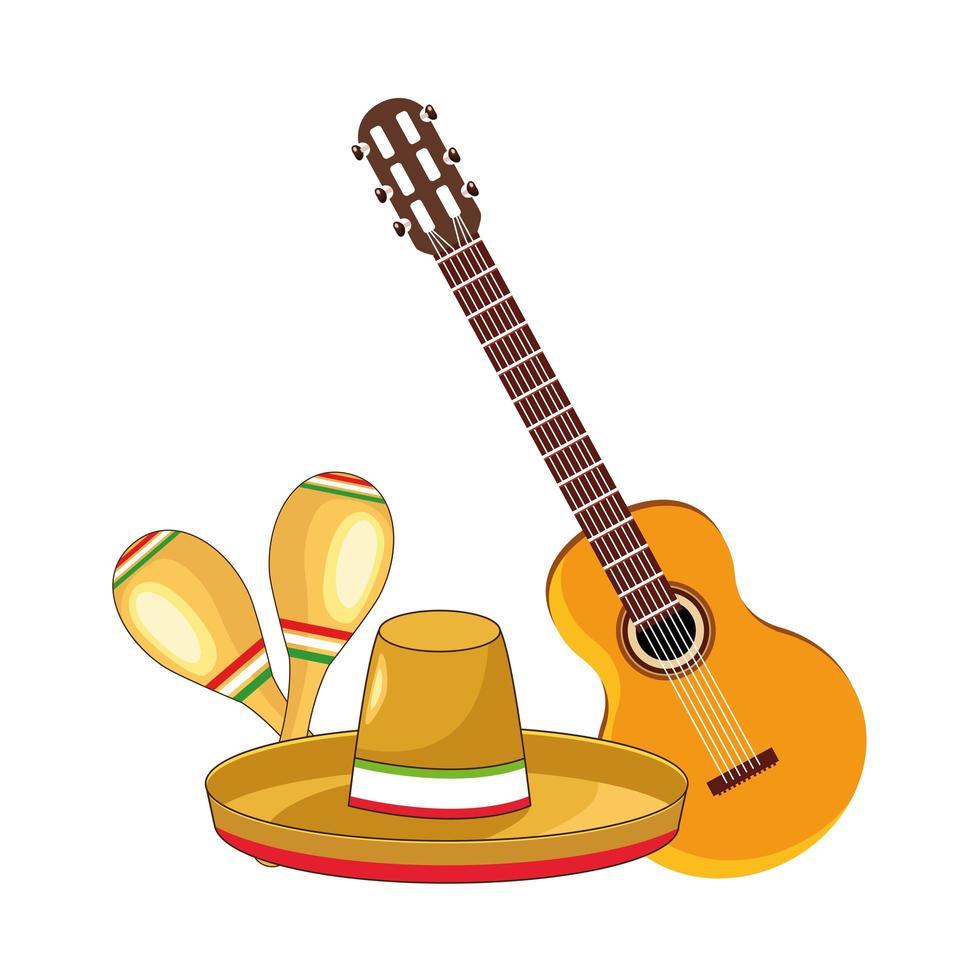 chapéu mexicano tradicional com violão e maracas vetor