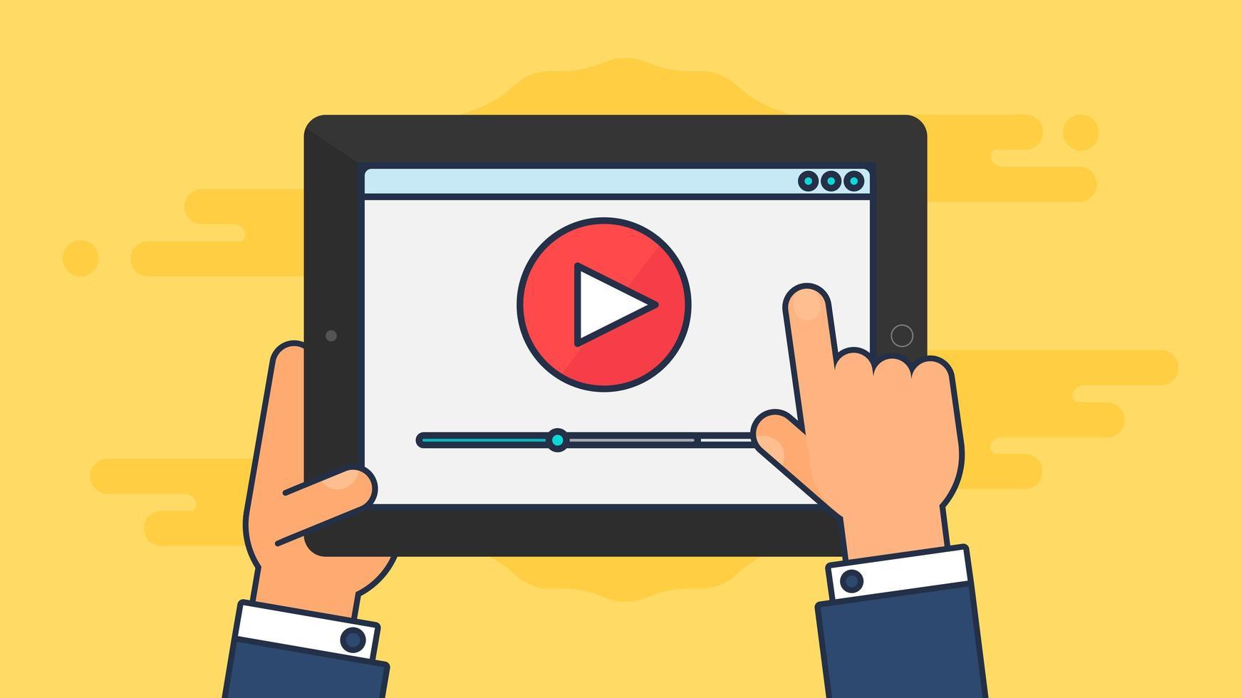 modelo da web da forma de vídeo para tablet vetor