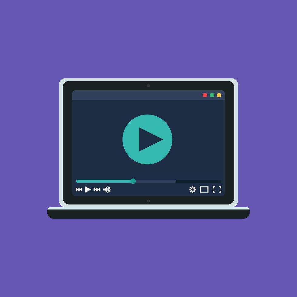modelo da web de player de vídeo notebook vetor