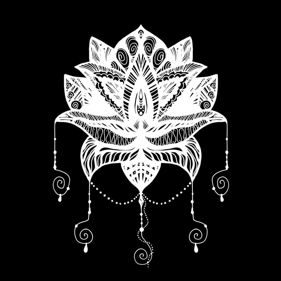 tatuagem de flor de lótus vetor