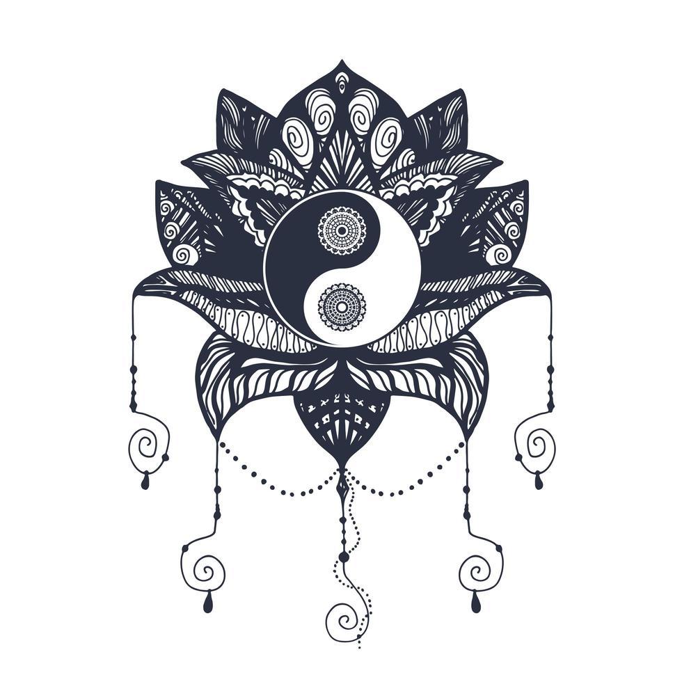 vintage yin e yang em lótus vetor