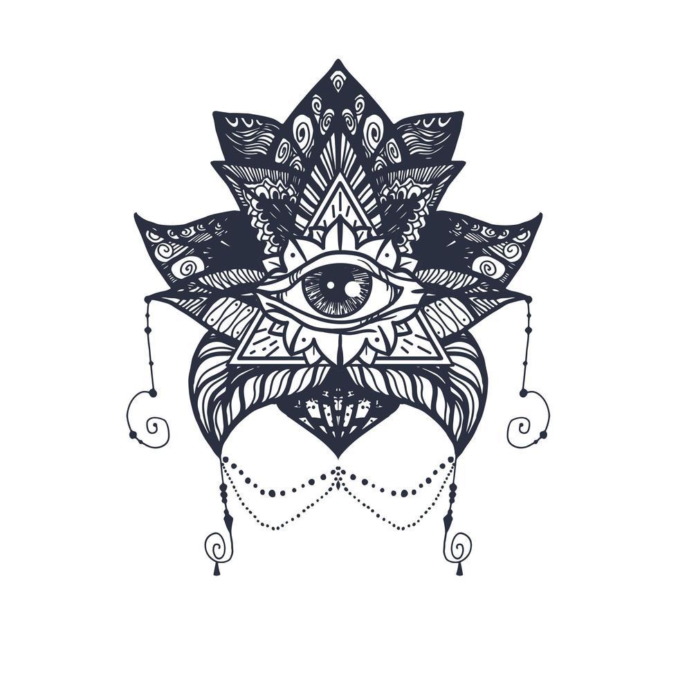 olho na tatuagem de lótus vetor