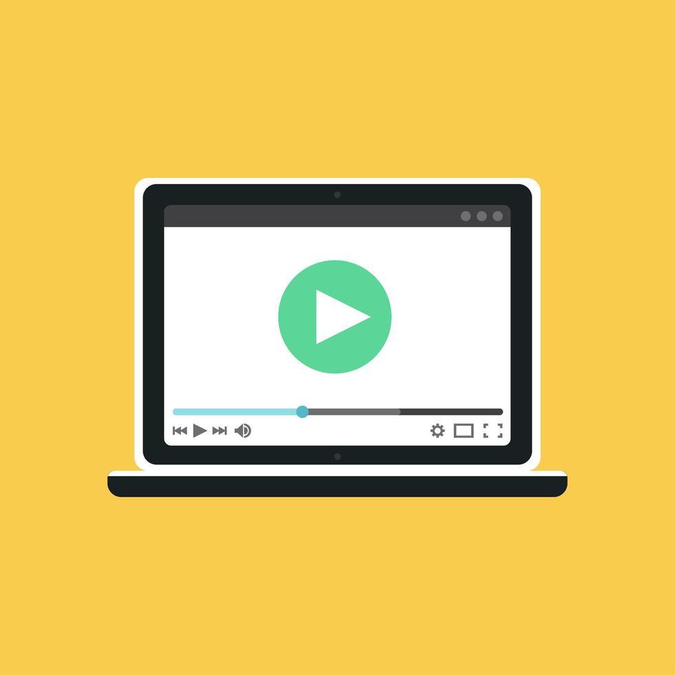 modelo da web do formulário de vídeo do notebook vetor