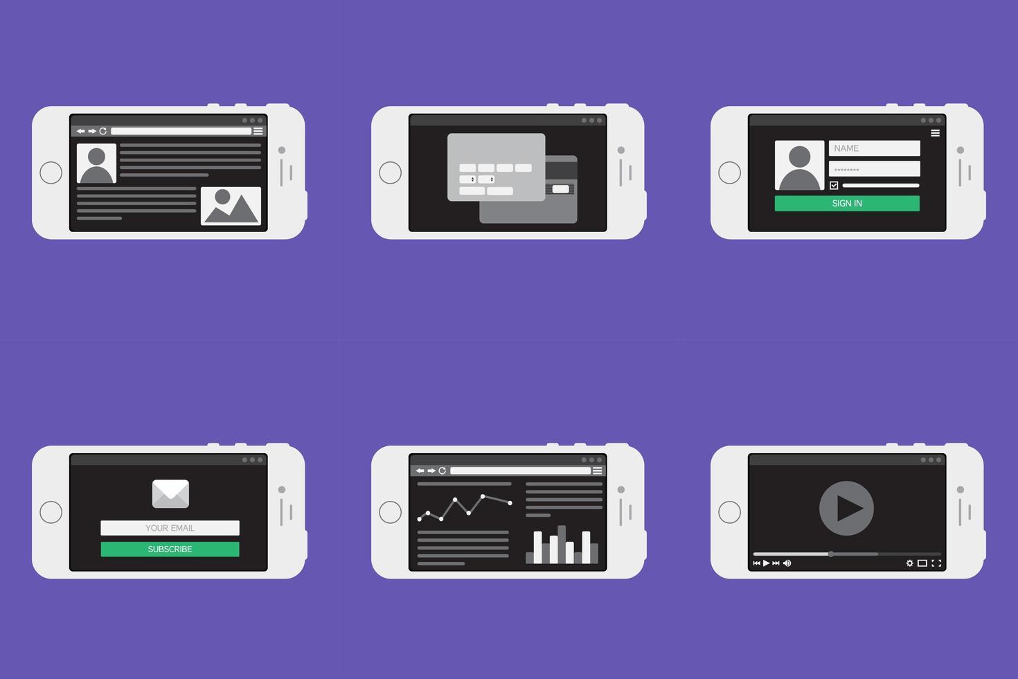 formulário de modelo da web em smartphone vetor