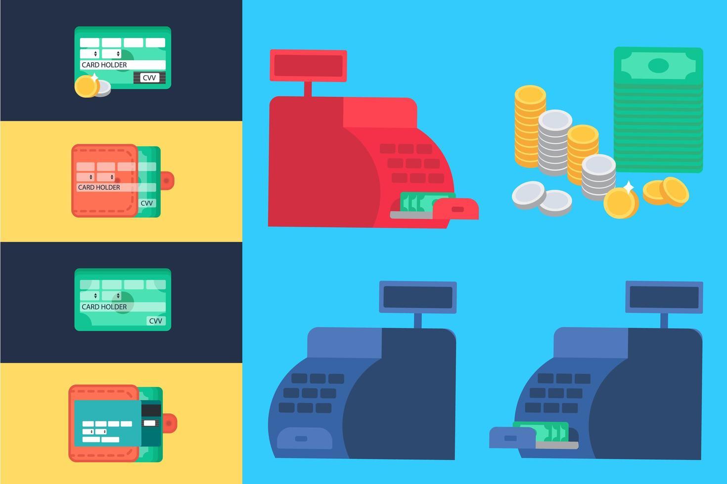 caixa registradora e dinheiro vetor