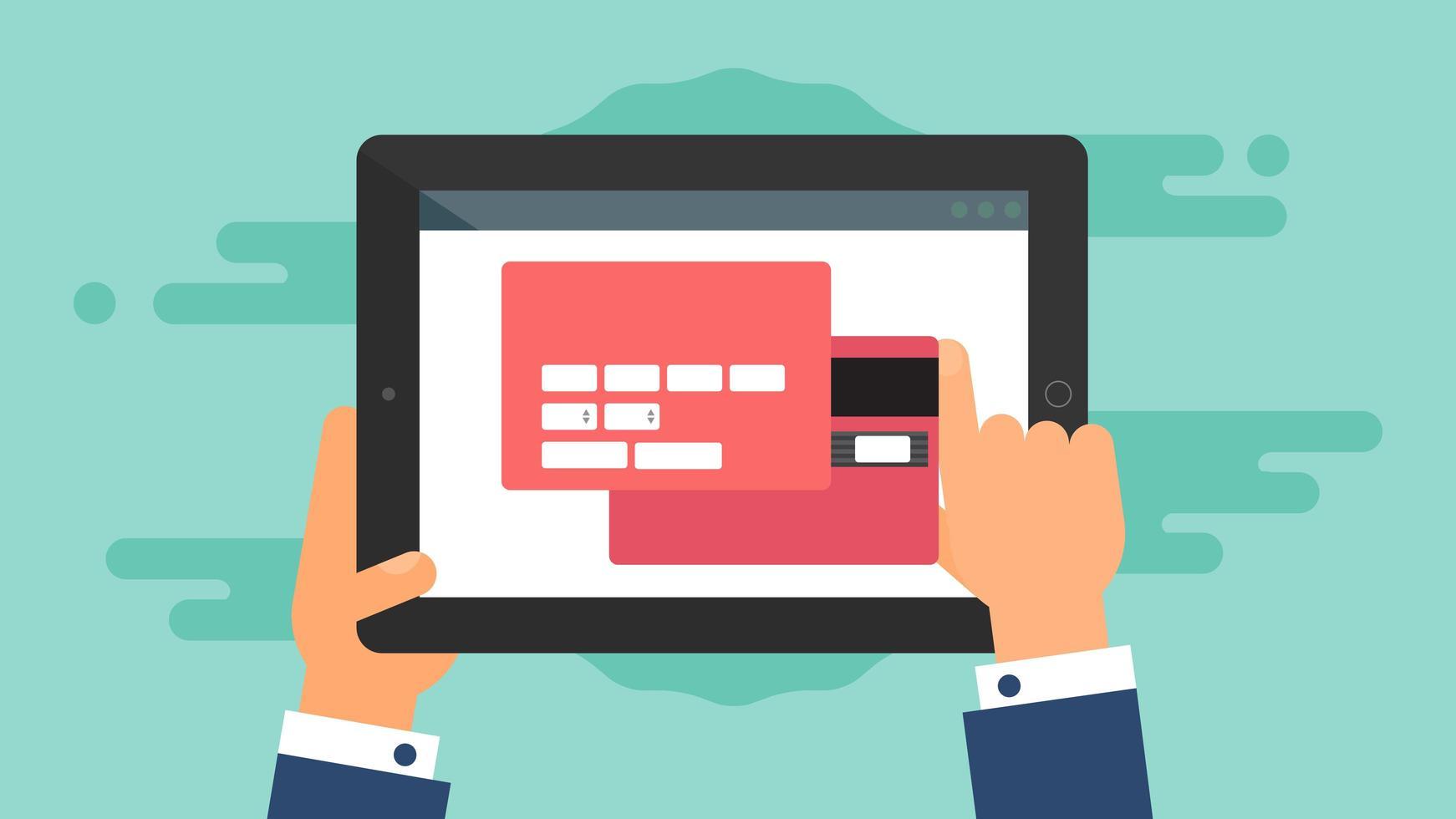 modelo da web de formulário de compra online para tablet vetor