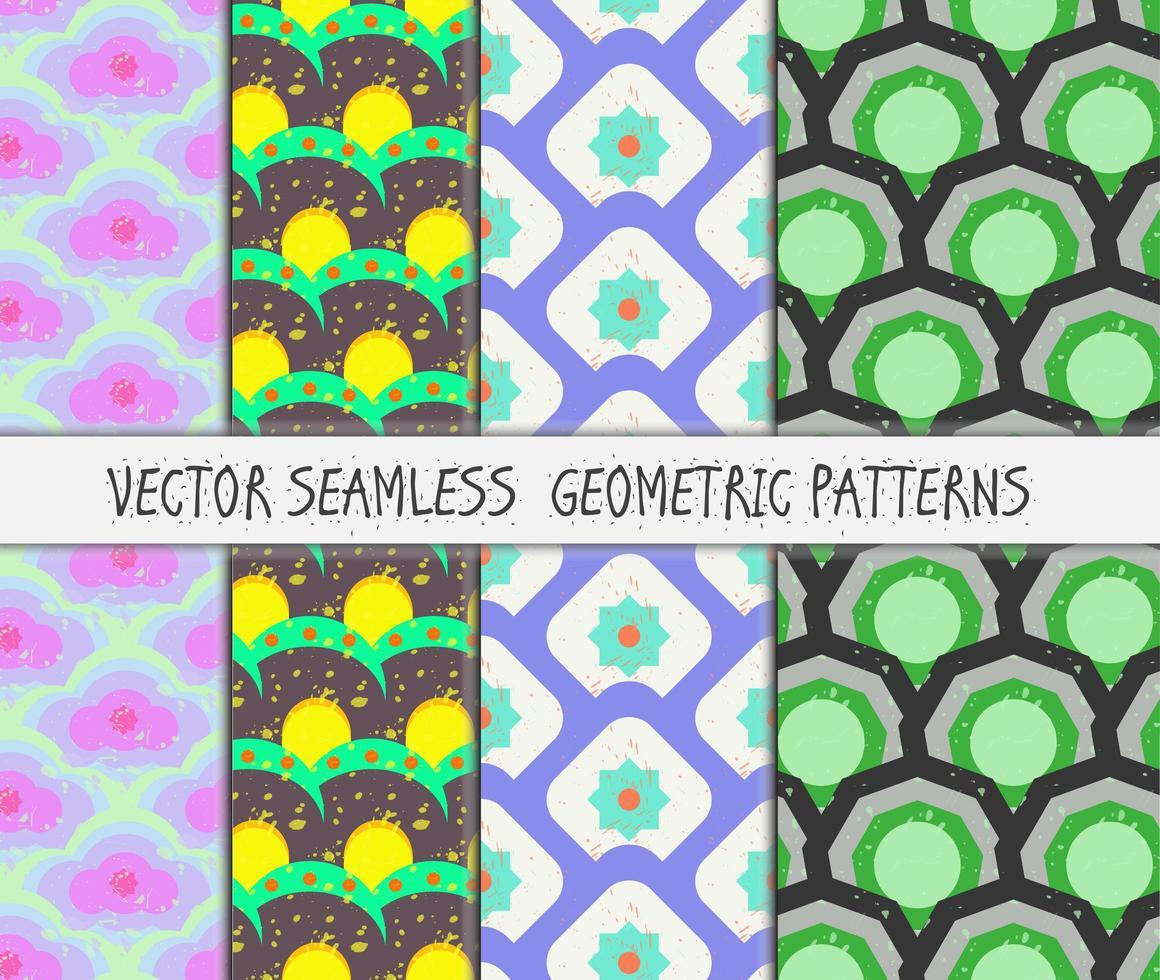 conjunto de padrões sem emenda geométricos coloridos de grunge vetor
