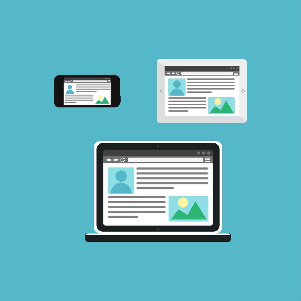 modelo da web de site adaptável ou formulário de artigo vetor