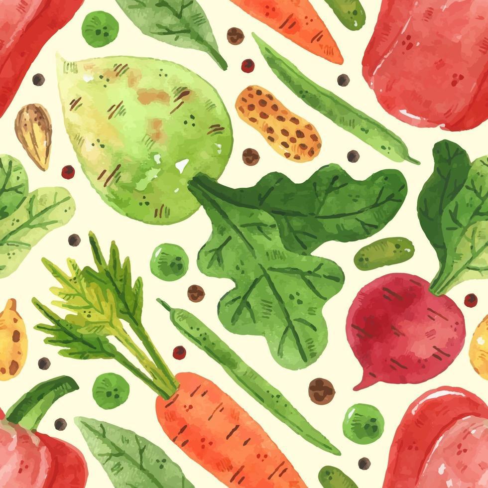 verduras, ervilha, feijão, pimentão, folha, rabanete, cenoura. projeto aquarela. desenhado à mão. mercado de alimentos vegetais. padrão sem emenda, textura, plano de fundo. papel de embalagem. vetor