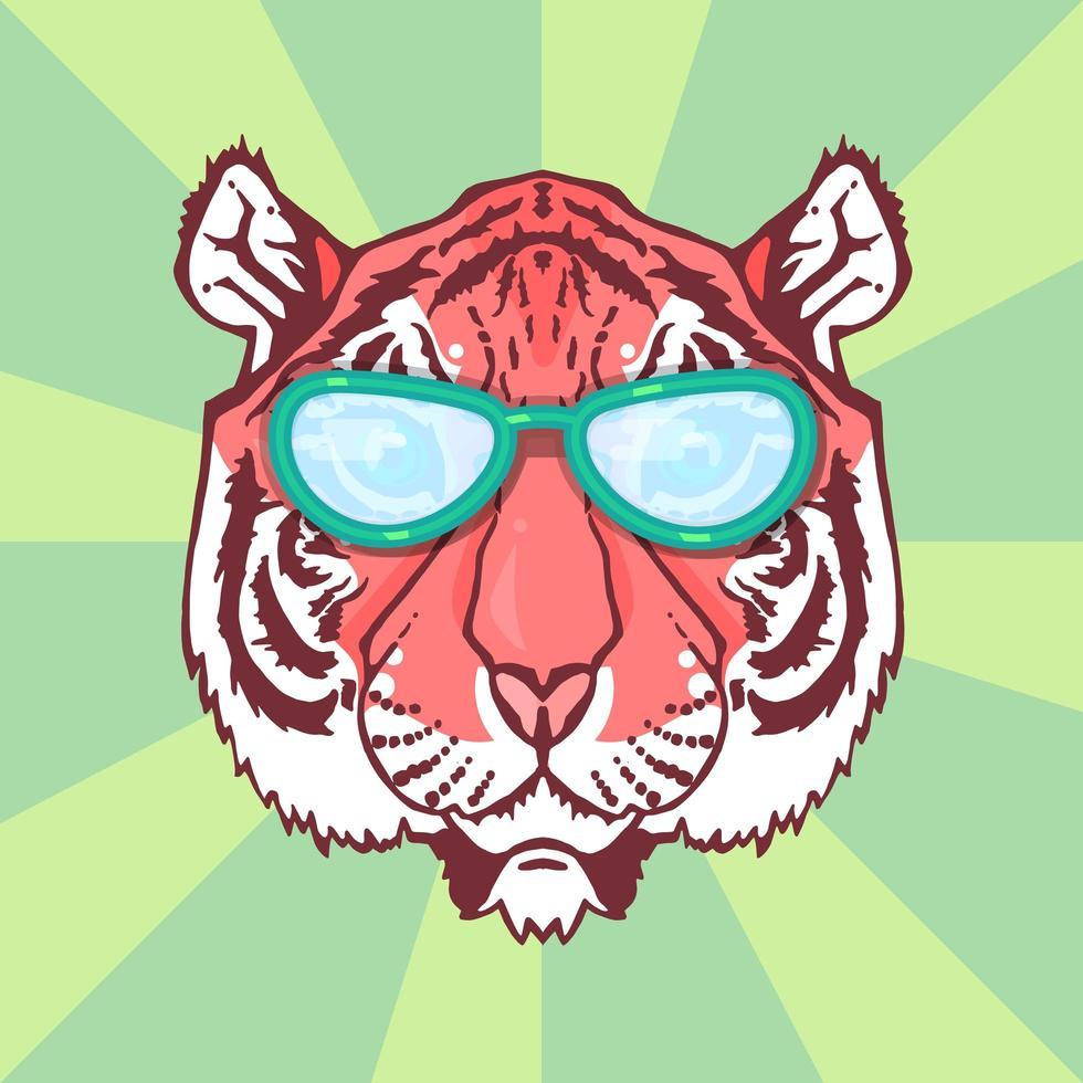 tigre de arte em linha vetor