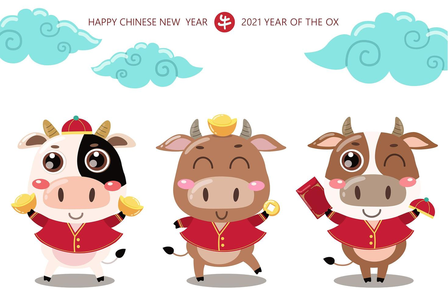 cartão de feliz ano novo chinês. 2021 boi zodiac. vaca bonita em traje vermelho e dinheiro de ouro. animal feriados personagem de desenho animado. vetor