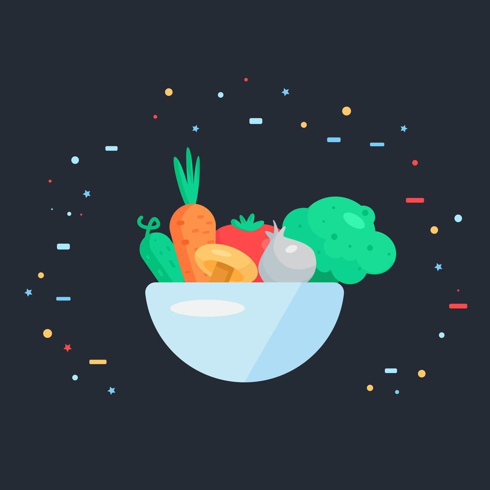 salada de legumes frescos vetor