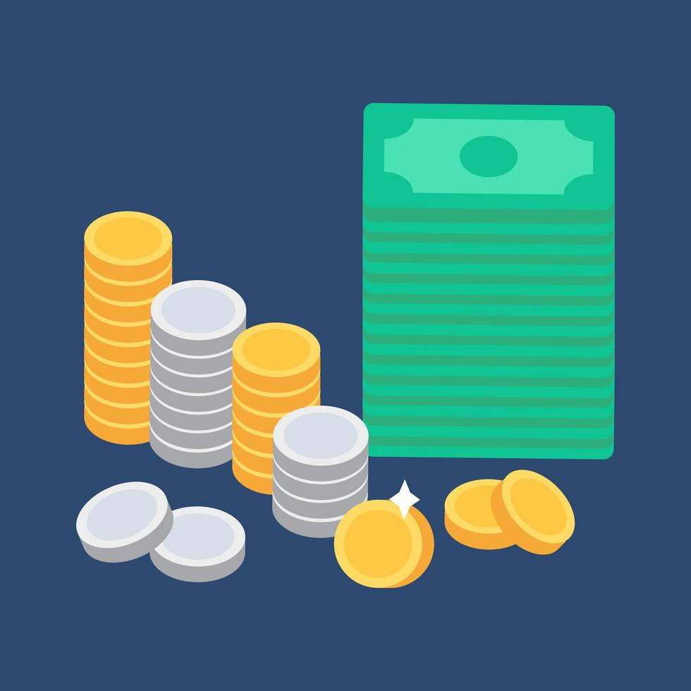 moedas e dinheiro vetor