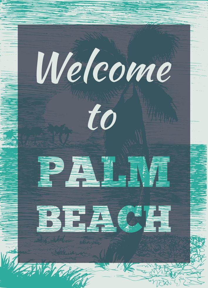 pôster de palma tropical de verão vetor