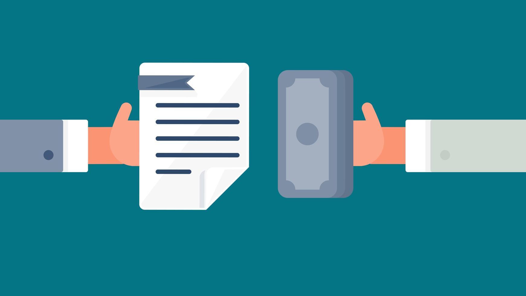 símbolo de pagamento e documento vetor
