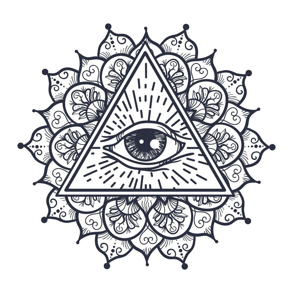 todos vendo olho no triângulo e mandala vetor