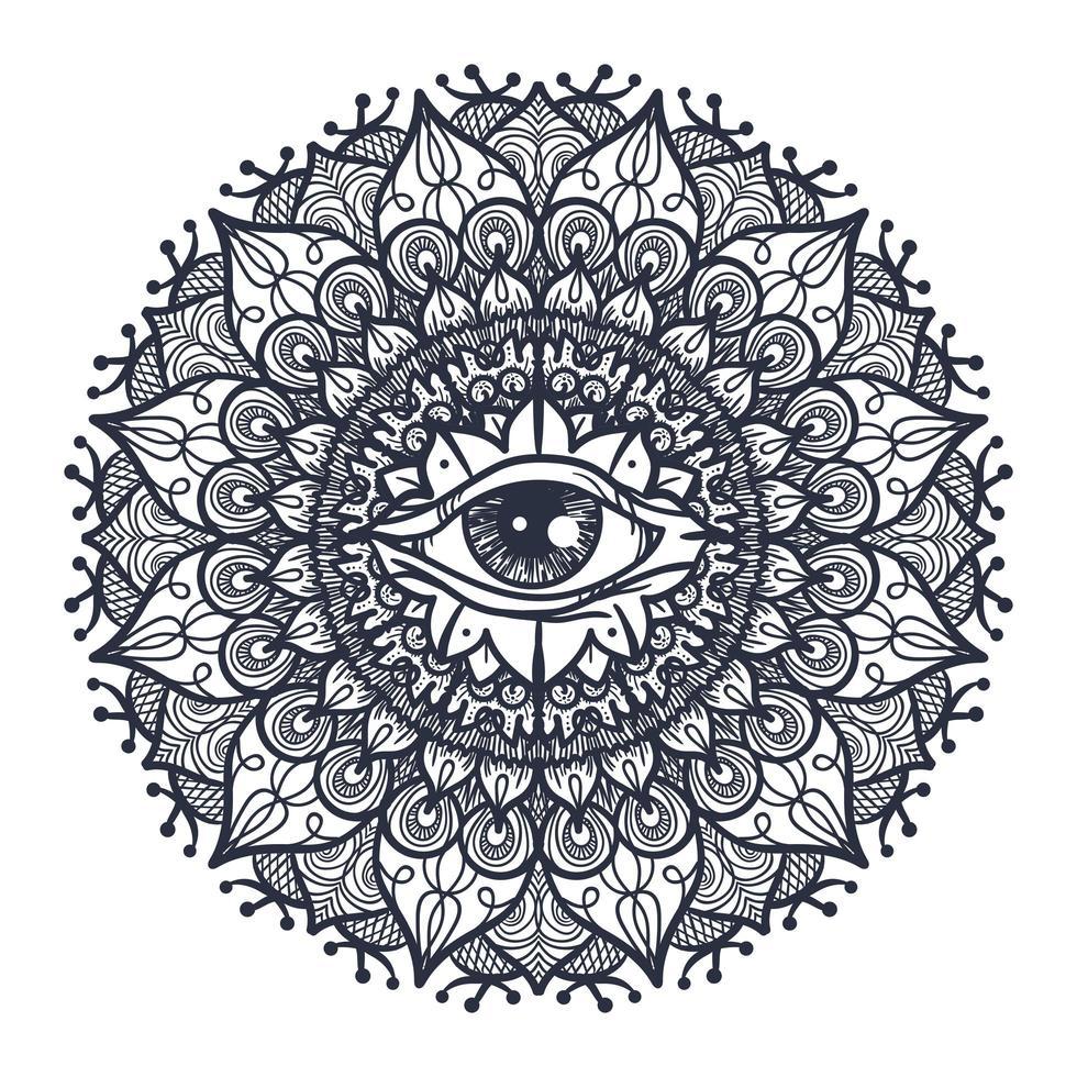 todos vendo olho na mandala vetor