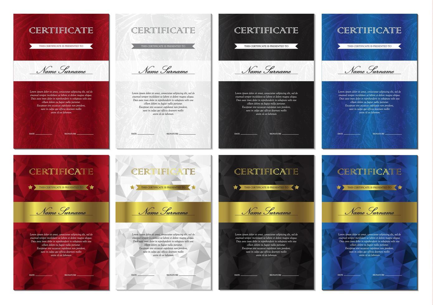 conjunto de modelos de certificado e diploma vetor