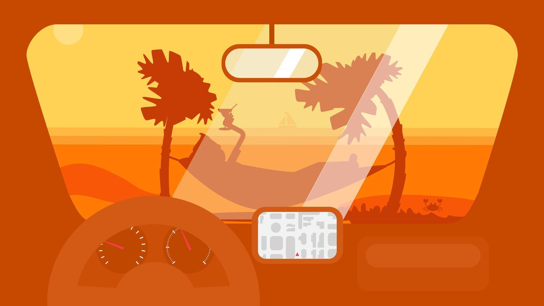 viagem de verão no carro vetor