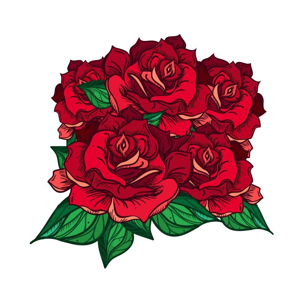 buquê de rosas de casamento desenhado à mão vetor