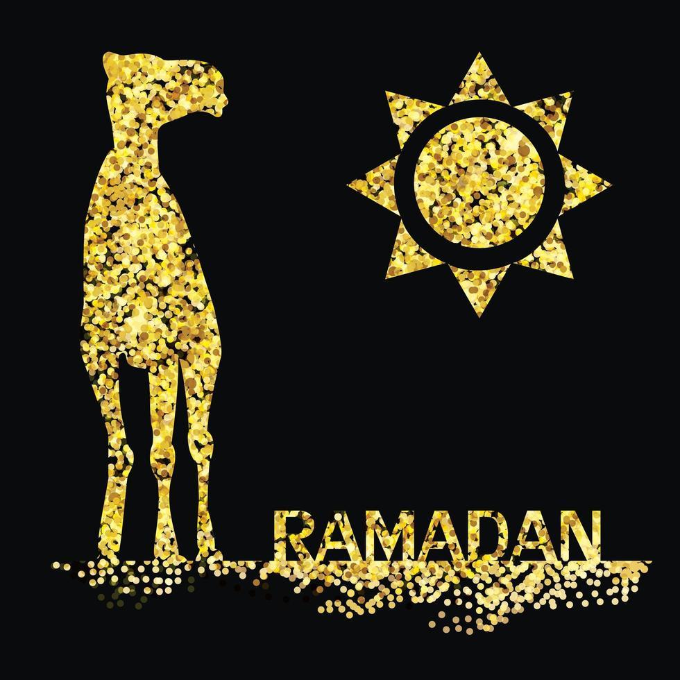 saudação de ouro do ramadã com camelo vetor