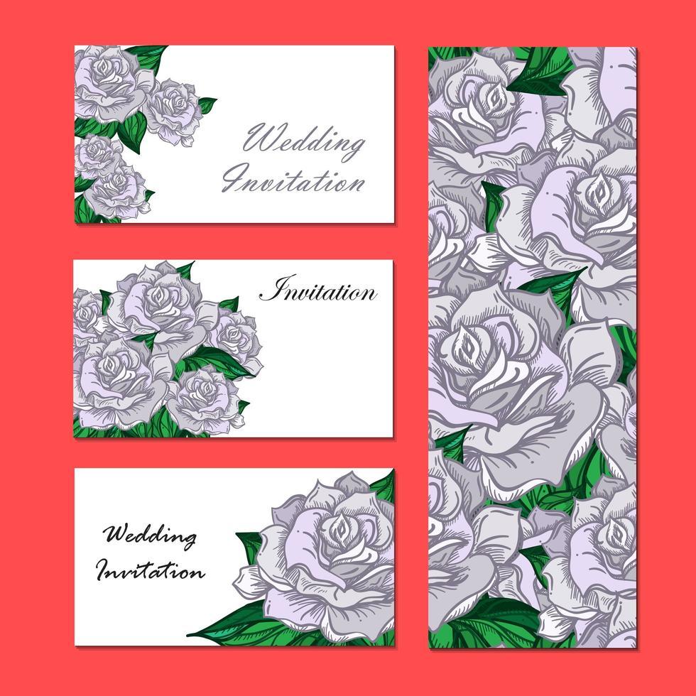 convite de casamento desenhado à mão vetor