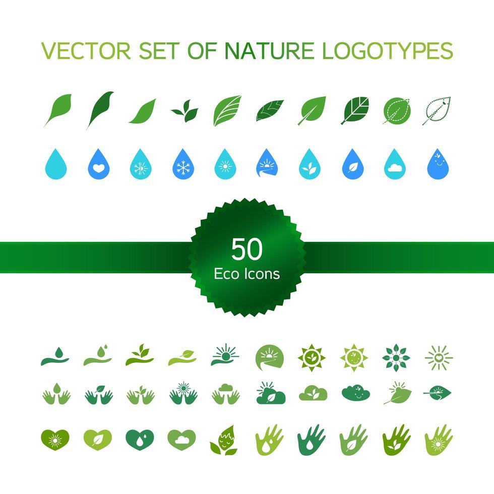 ícones de ecologia, logotipo da natureza vetor