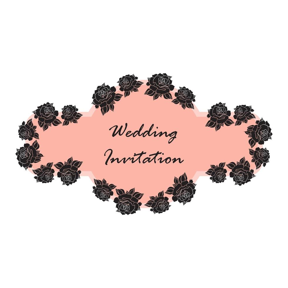 mão desenhada casamento rosa banner vetor
