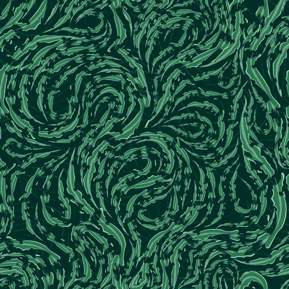 padrão de vetor sem costura de linhas fluidas verdes suaves com bordas rasgadas
