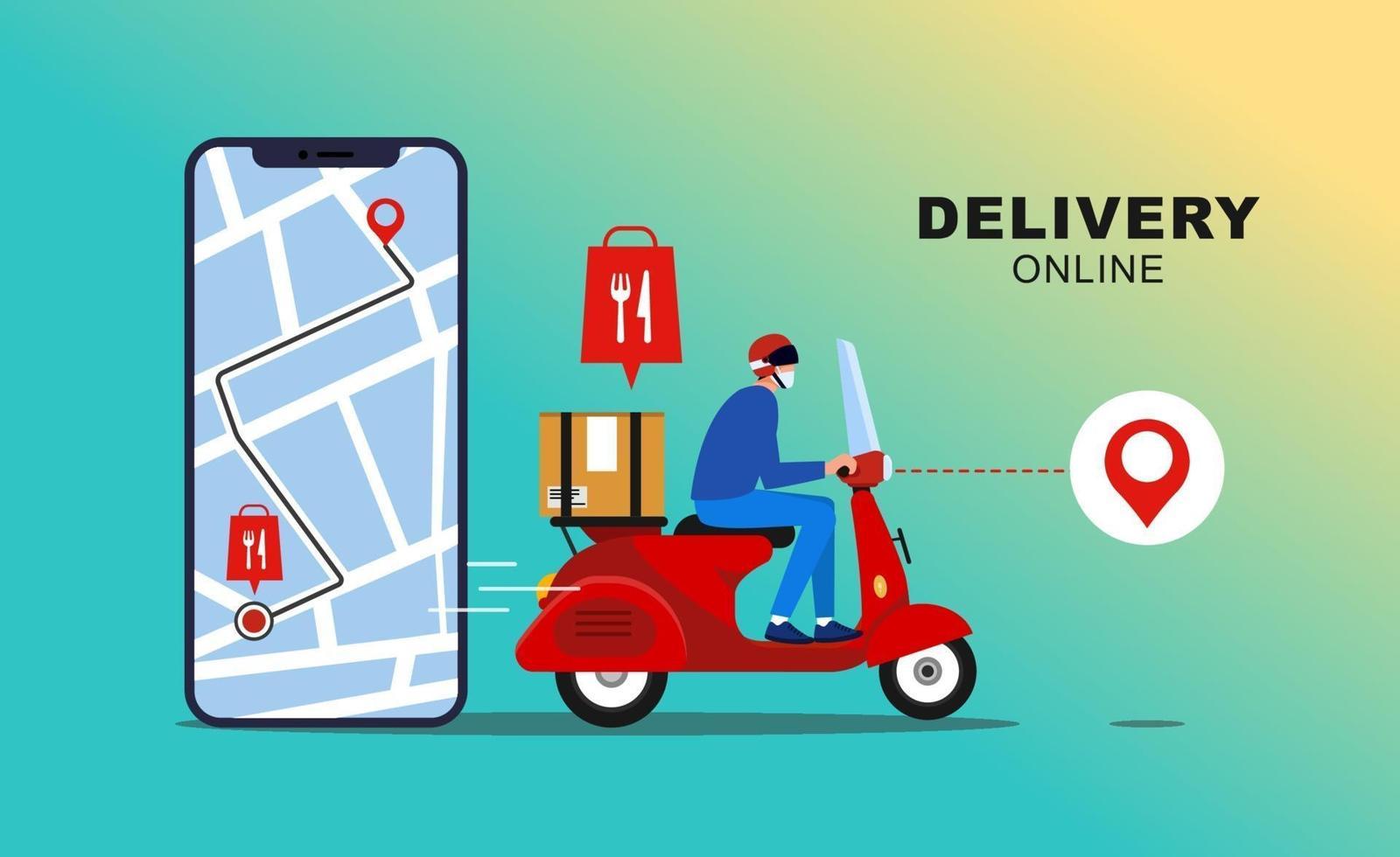 entrega online com aplicativo móvel. pacote de entrega rápida por correio no celular. rastreamento de comida de correio por aplicativo de mapa. vetor