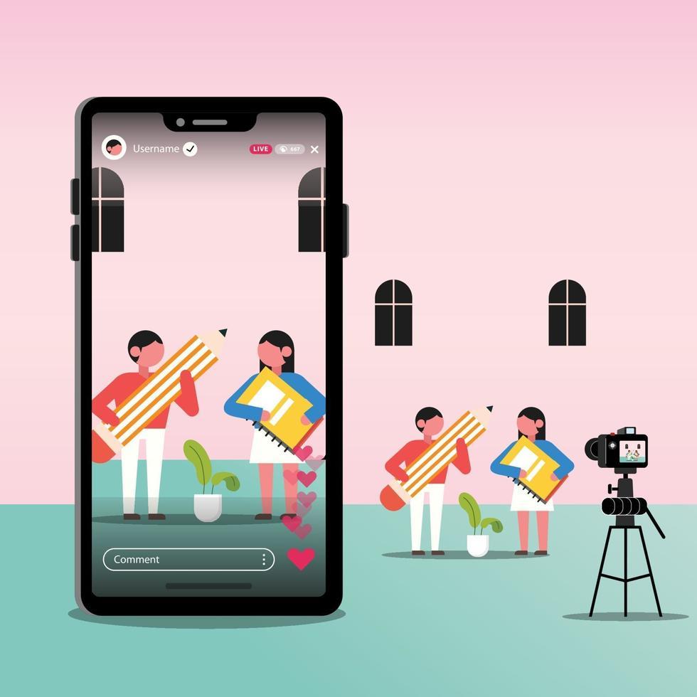 ilustração vlogger, blogueiro ou influenciador feminino e masculino, gravando novo vídeo de transmissão ao vivo no smartphone vetor