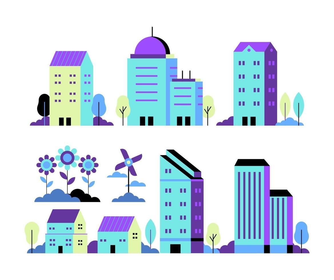 conjunto de vetores de ilustração de cidade de néon em estilo simples geométrico mínimo