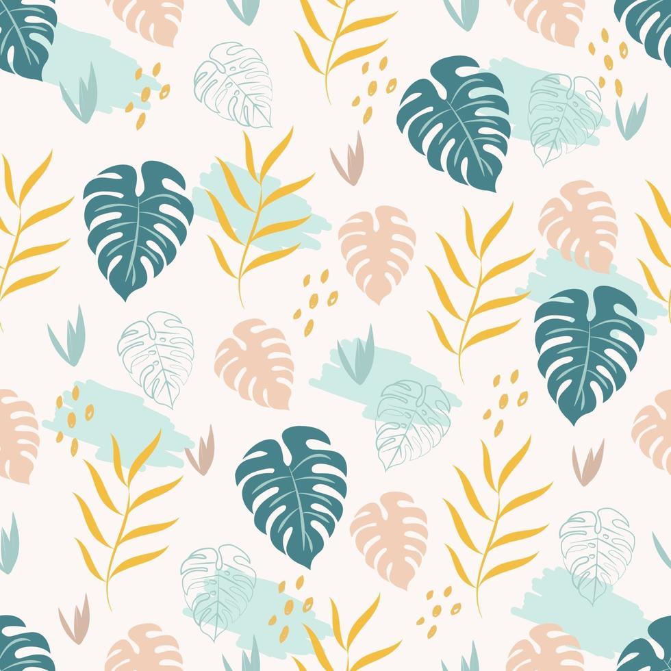 padrão tropical sem costura com monstera verde e folhas de palmeira amarelas vetor