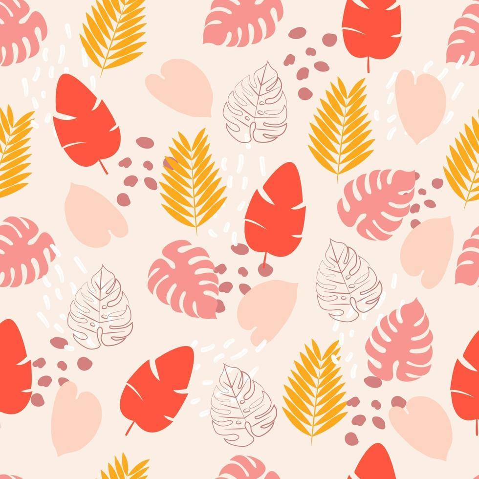 padrão sem emenda com folhas tropicais rosa, amarelas e vermelhas vetor