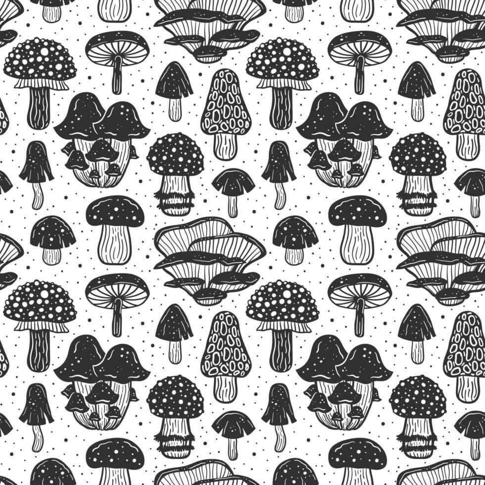 floresta cogumelos padrão sem emenda, textura, plano de fundo vetor