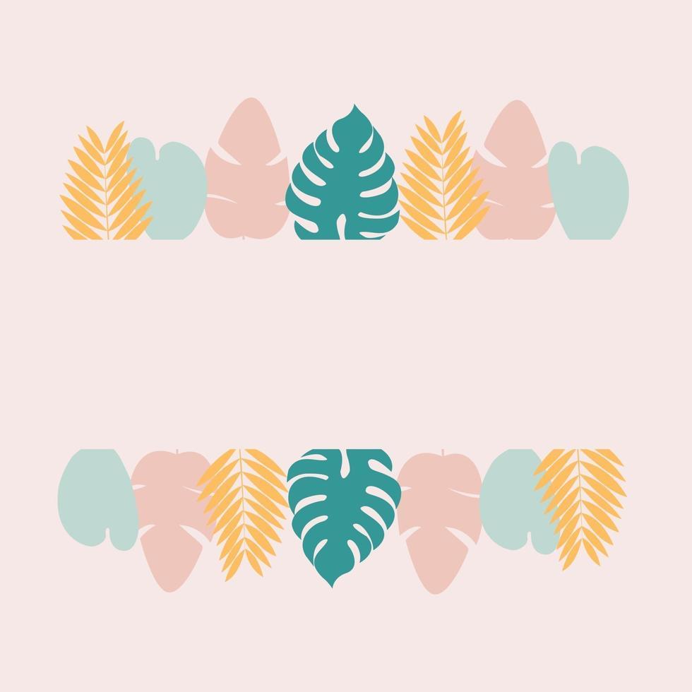 moldura tropical com folhas verdes de monstera e folhas rosa de banana em fundo rosa vetor