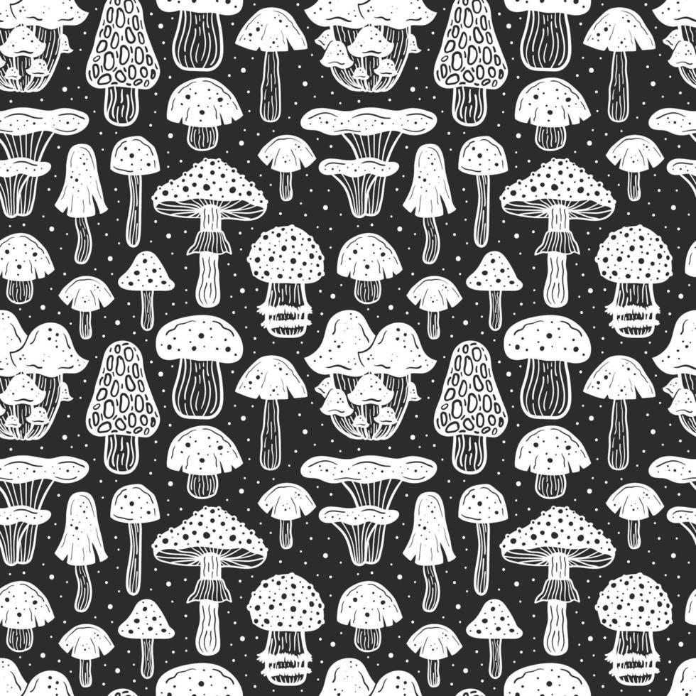 padrão sem emenda de cogumelos da floresta vetor