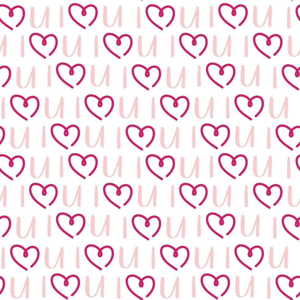 feriado de são namorados coração rosa padrão sem emenda vetor