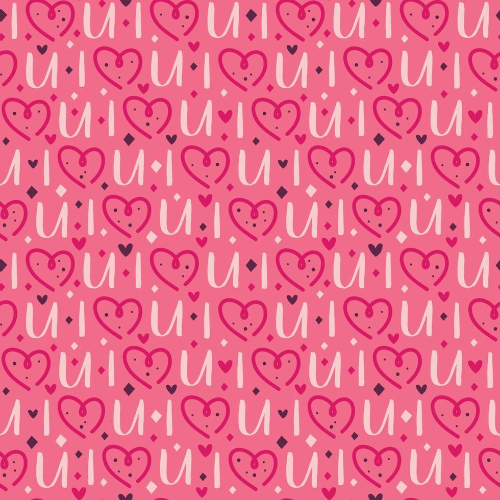 coração do feriado de São Valentim com letras padrão sem emenda vetor