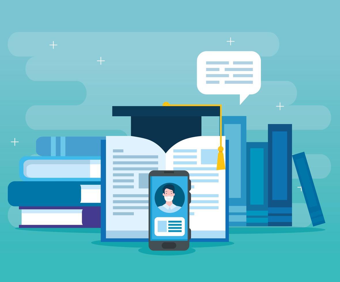 tecnologia de educação online com smartphone e ícones vetor