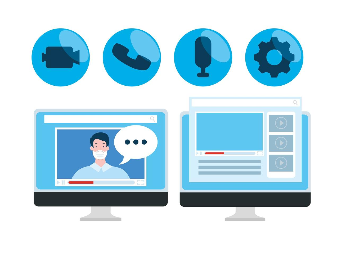 tecnologia de educação online com computadores e ícones vetor