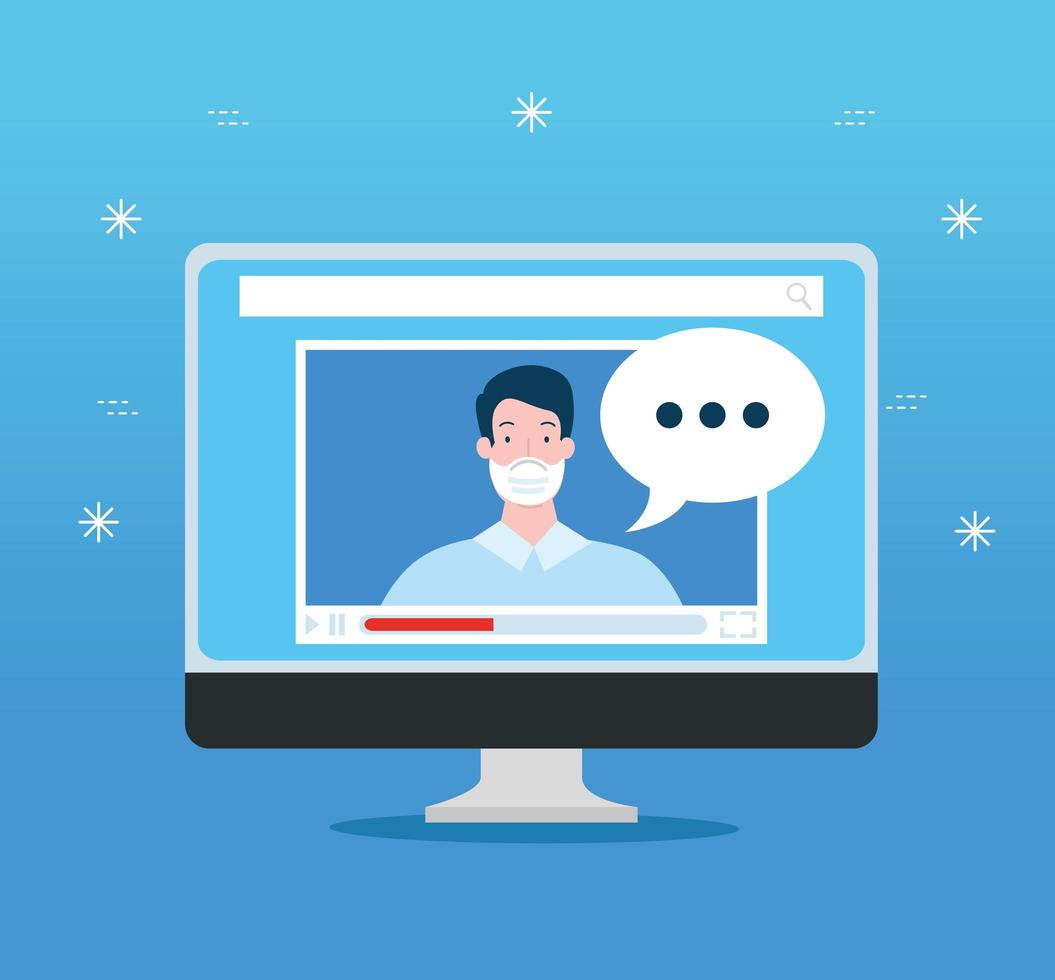 tecnologia de educação online no computador vetor