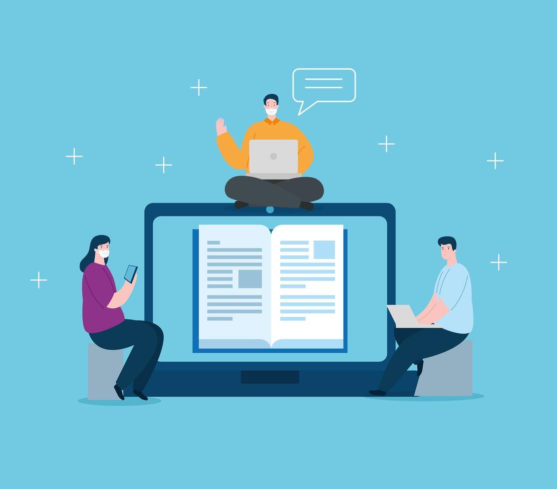 tecnologia de educação online com pessoas e laptops vetor