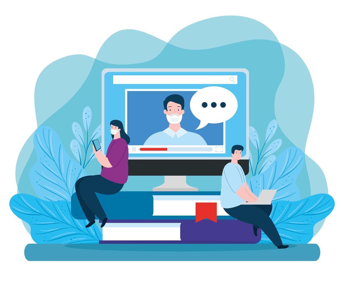 casal de tecnologia de educação online vetor
