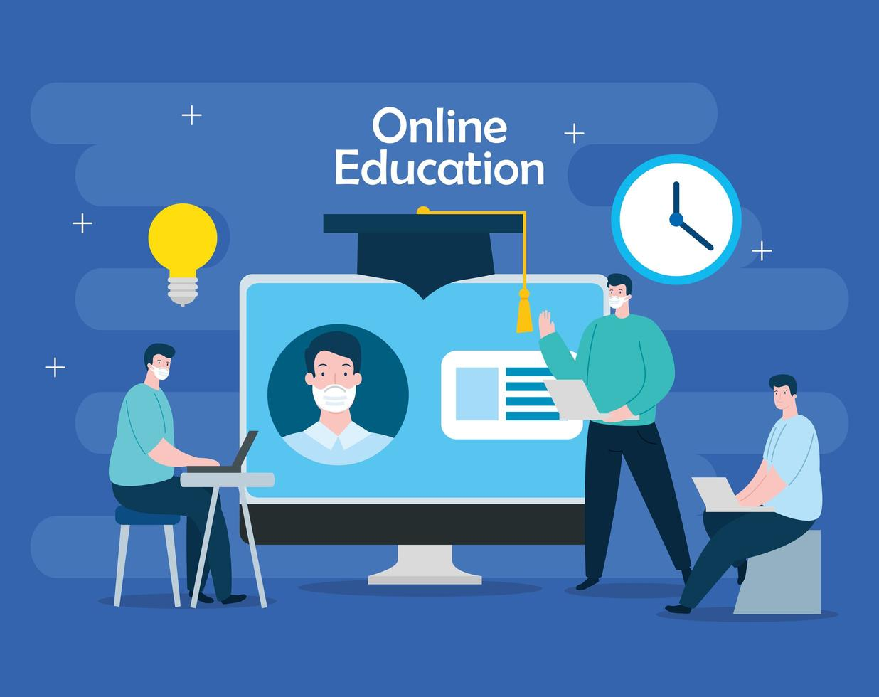 homens de tecnologia de educação online com computador vetor
